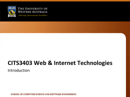 CITS3403 Web & Internet Technologies