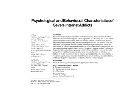 Psychological and Behavioural Characteristics of Severe Internet