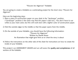 """Flowers for Algernon"" Foldable You are going to create a foldable"