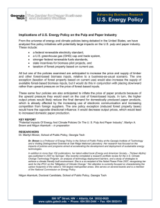 US Energy Policy - The Center for Paper Business and Industry