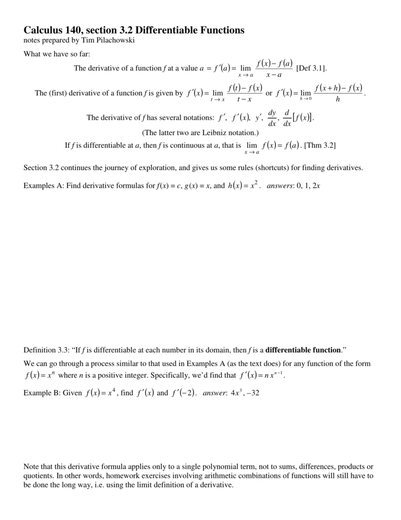 Calculus 140, section 3 2 Differentiable Functions