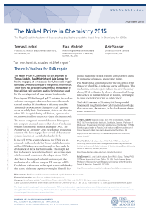 The Nobel Prize in Chemistry 2015