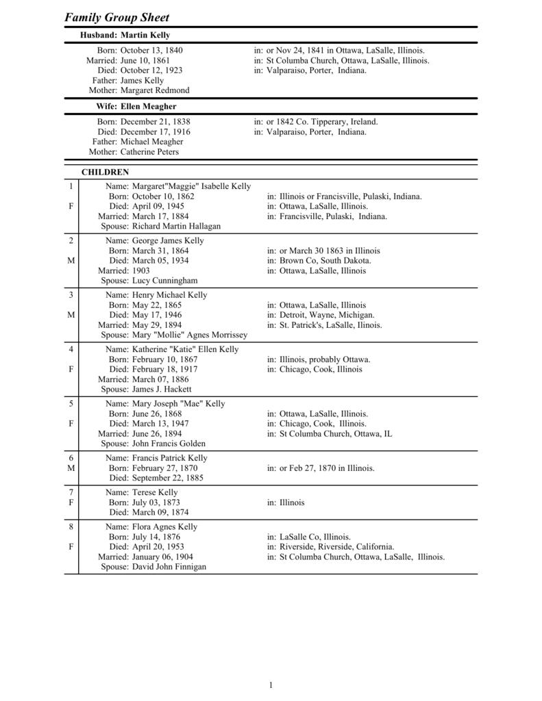 Martin Kelly's Family Tree (PDF File)