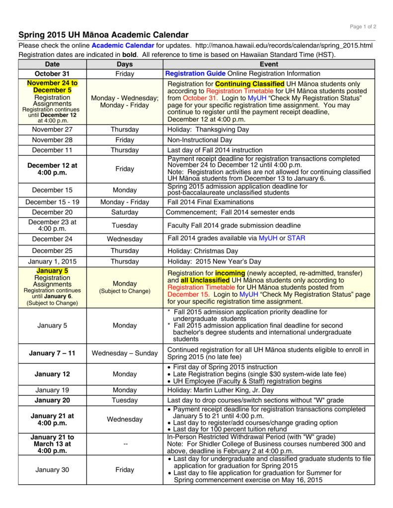 Uhm Academic Calendar Fall 2021 Background