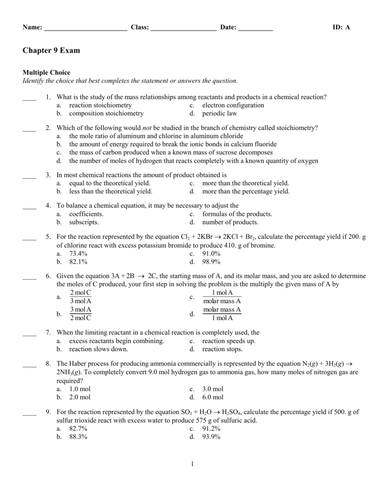 Chapter 9 Exam Key IDA – Stoichiometry Worksheet 2 Percent Yield