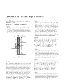 CHAPTER 14 STATIC EQUILIBRIUM