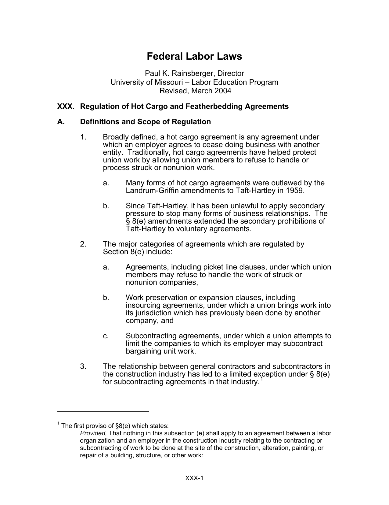 Regulation of hot cargo and featherbedding agreements