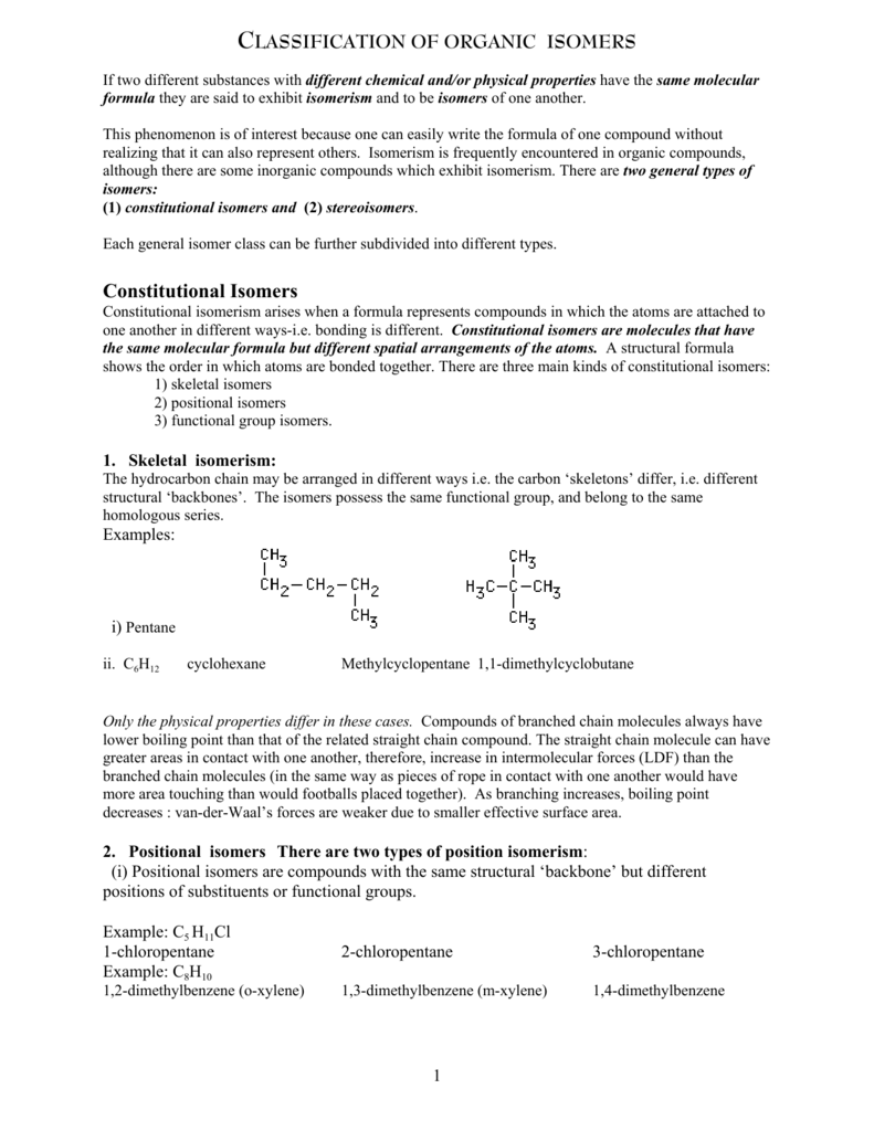 Classification of Organic Isomers