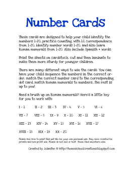 Number Cards - Homeschool Creations