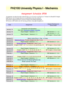 Assignment Schedule SP08