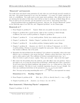 "Homework # 7 Short homework (""Mastering Physics"" assignment)"
