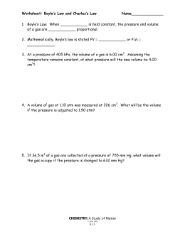 Law and Charles' Law Worksheet