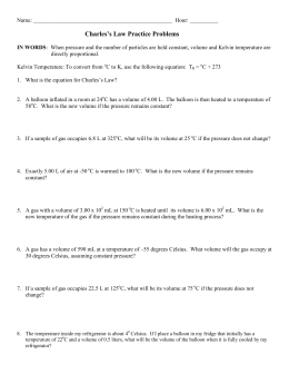 Charles' Law Worksheet