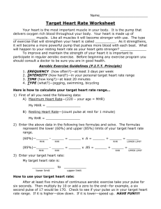 Target Heart Rate Worksheet