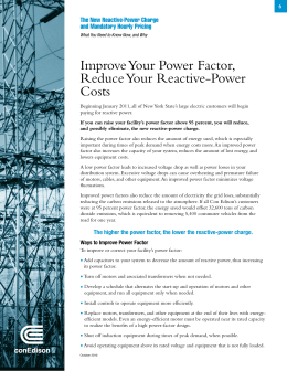 Improve Your Power Factor, Reduce Your Reactive