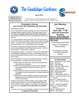 April 2015 Newsletter - Guadalupe County Master Gardeners