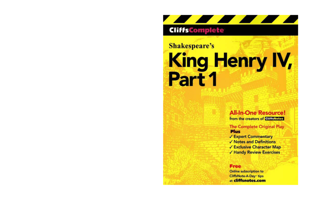 Cliffs Complete Shakespeares King Henry Iv Part 1