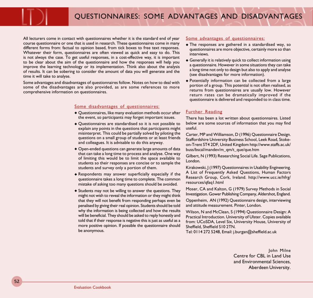 advantages disadvantages of questionnaires