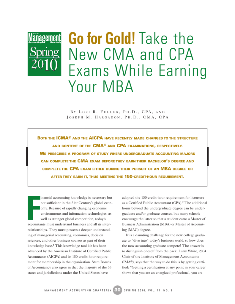 Take the new cma and cpa exams while earning your mba 1betcityfo Image collections