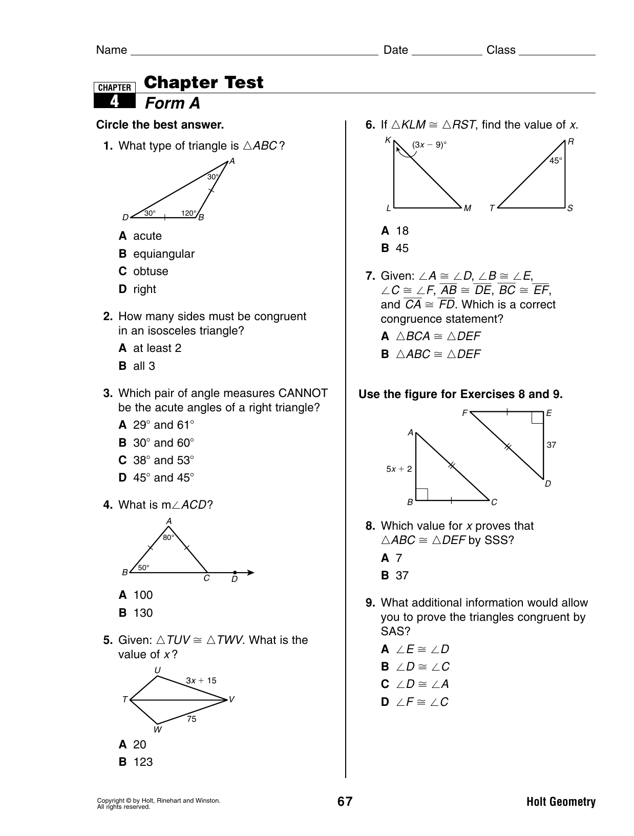 Bestseller: Holt Geometry Chapter 6 Test Answer Key