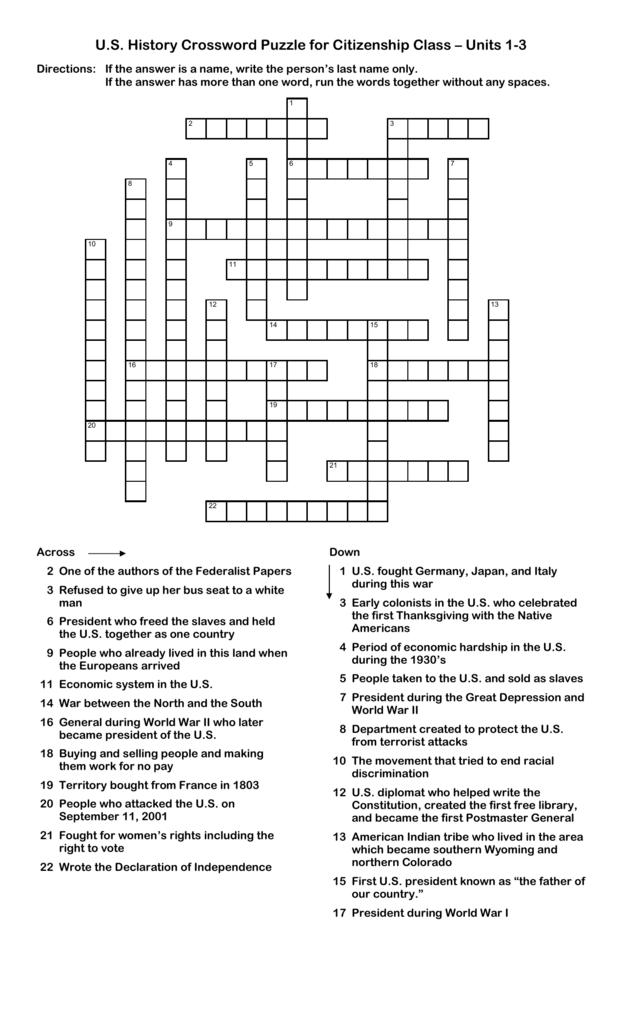 U S  History Crossword Puzzle