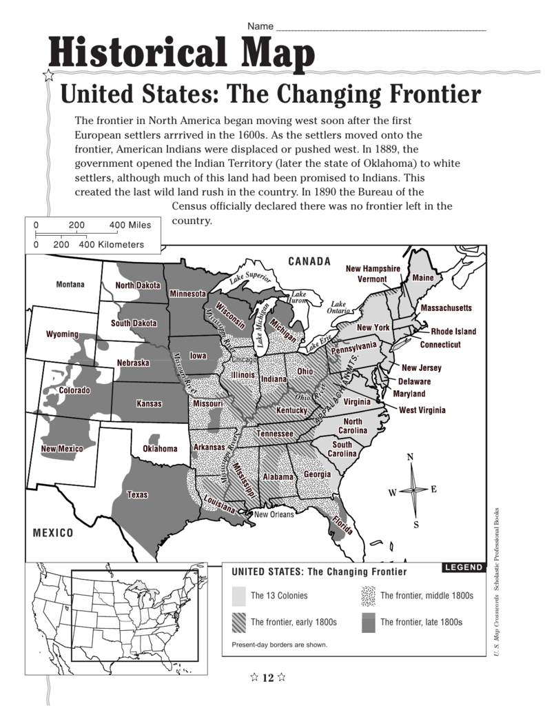 Historical Map United States: The Changing Frontier