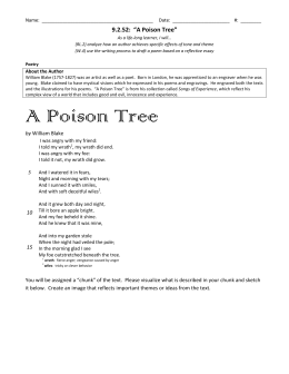a posion tree essay A poison tree by william blake can be interpreted to be a metaphor that explains a truth of human nature i believe that this poem teaches how anger can be dismissed by kindness and friendliness, and nurtured to become a deadly 'poison.
