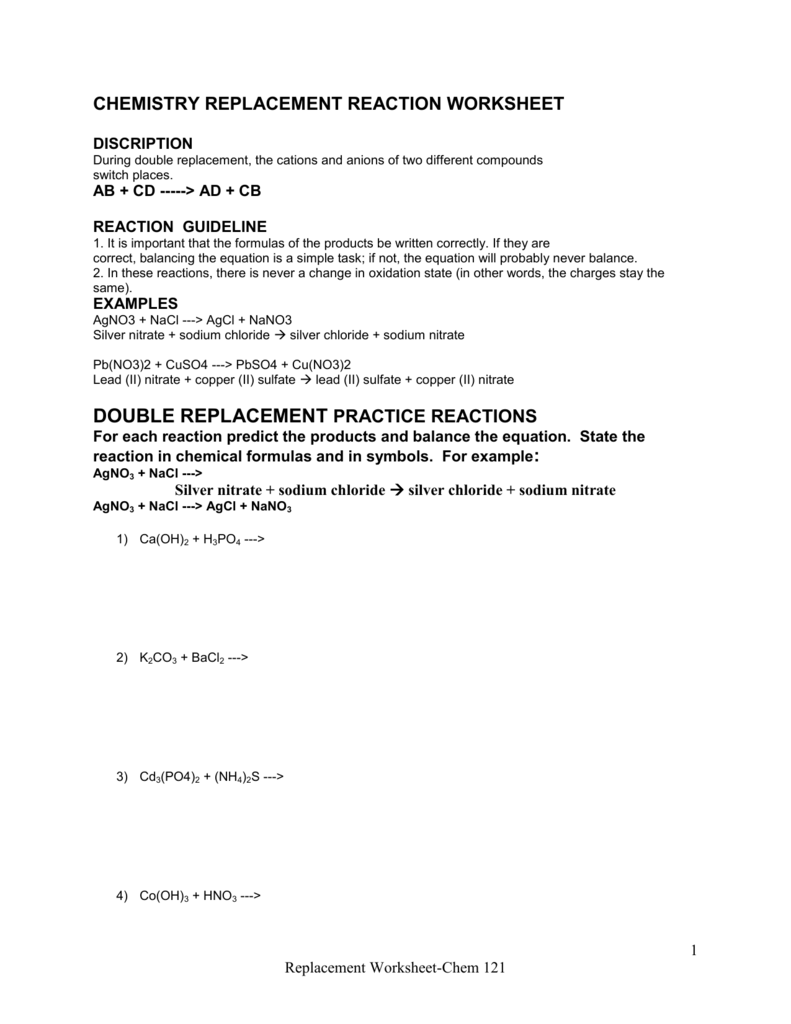worksheet Double Replacement Reactions Worksheet chemistry replacement reaction worksheet