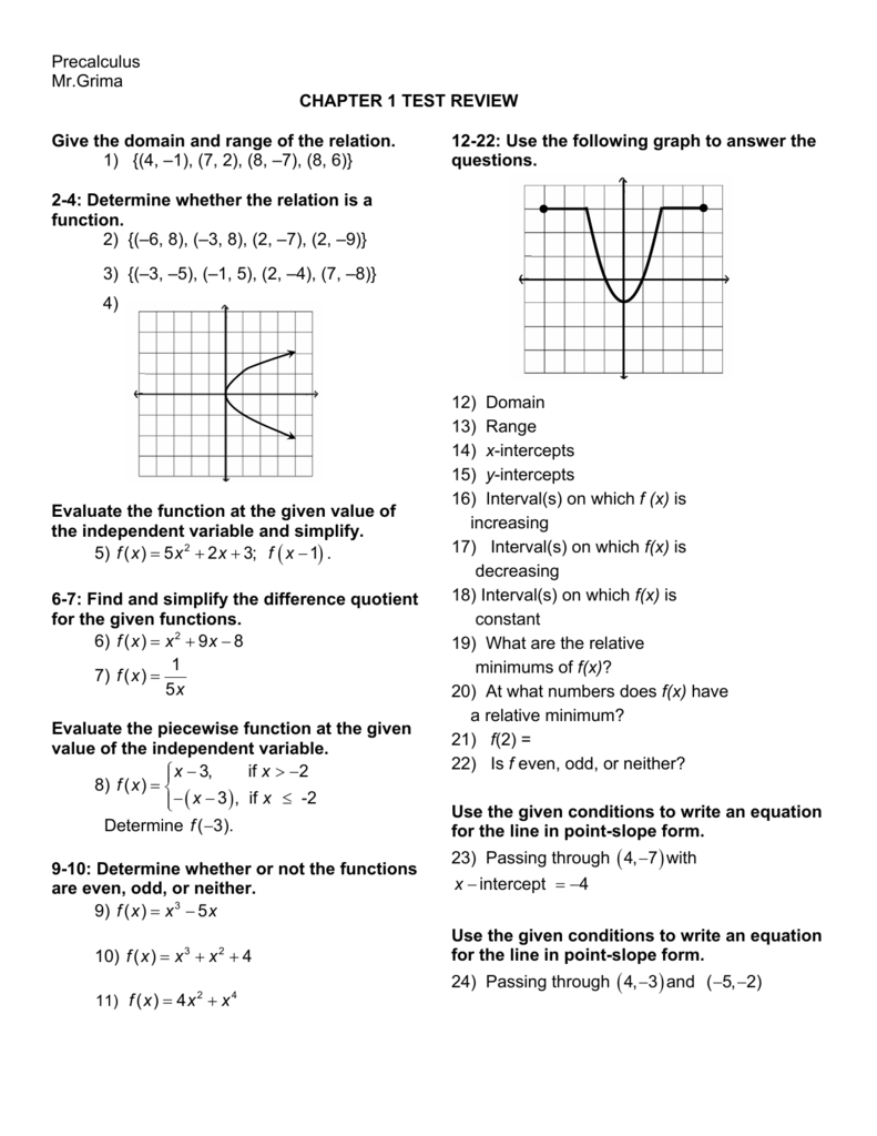 Precalculus Mr Grima CHAPTER 1 TEST REVIEW Give the domain
