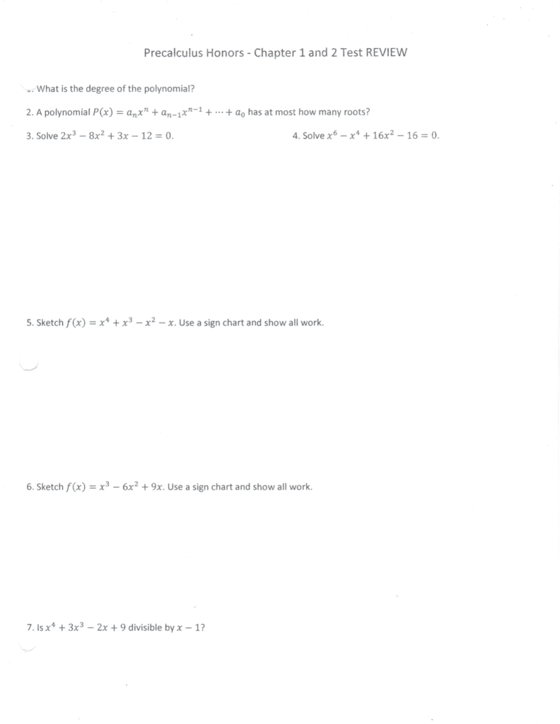 precalculus honors chapter 1 and 2 test review 2 a polynomial