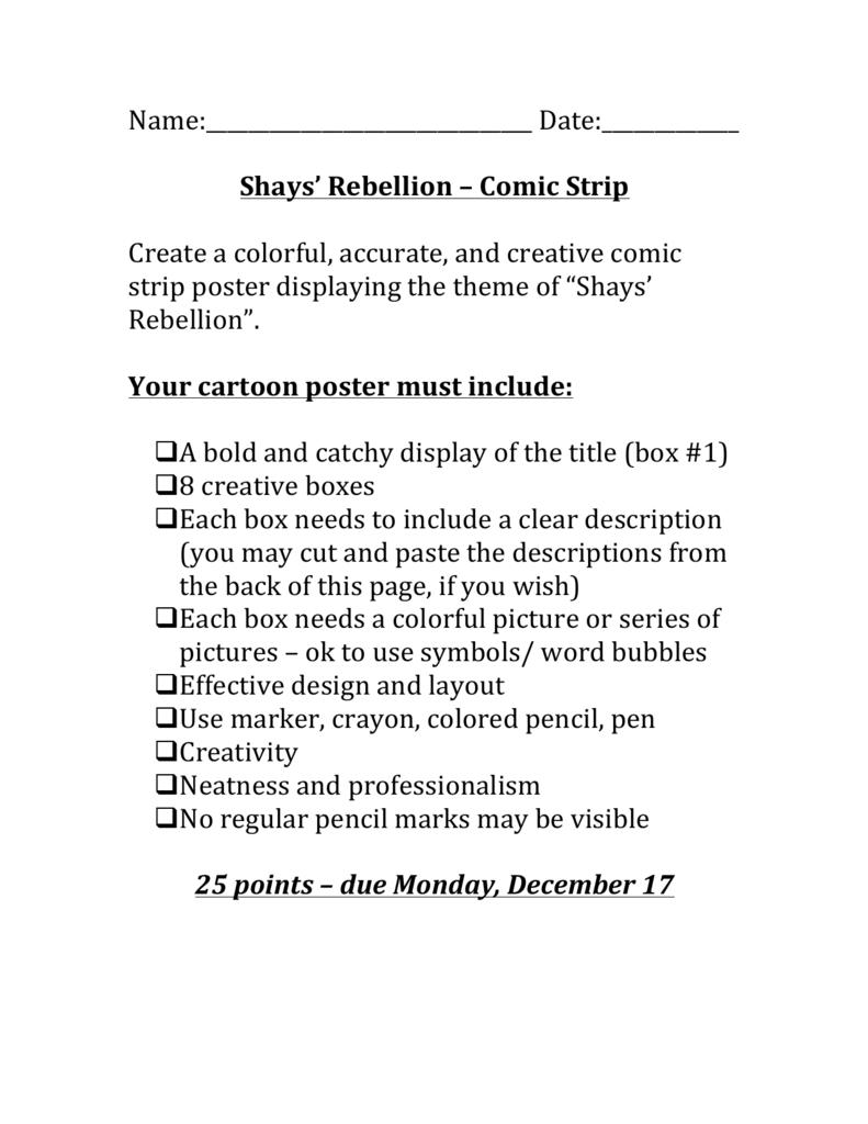 Name Date Shays Rebellion Comic Strip – Shays Rebellion Worksheet
