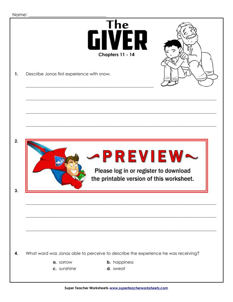 Chapters 11 14 Super Teacher Worksheets – The Giver Worksheets