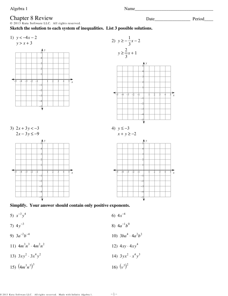 Algebra 1 Chapter 8 Review