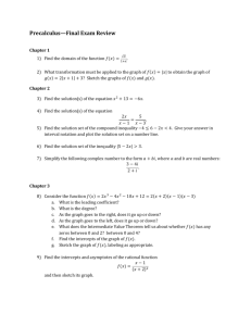 Precalculus—Final Exam Review