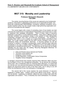MGT 315: Morality and Leadership