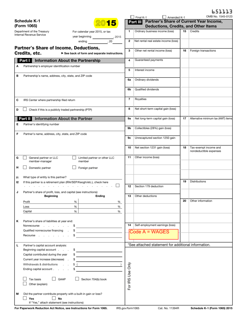 form 1065 box 16 codes  1111 Form 1111 (Schedule K-11)