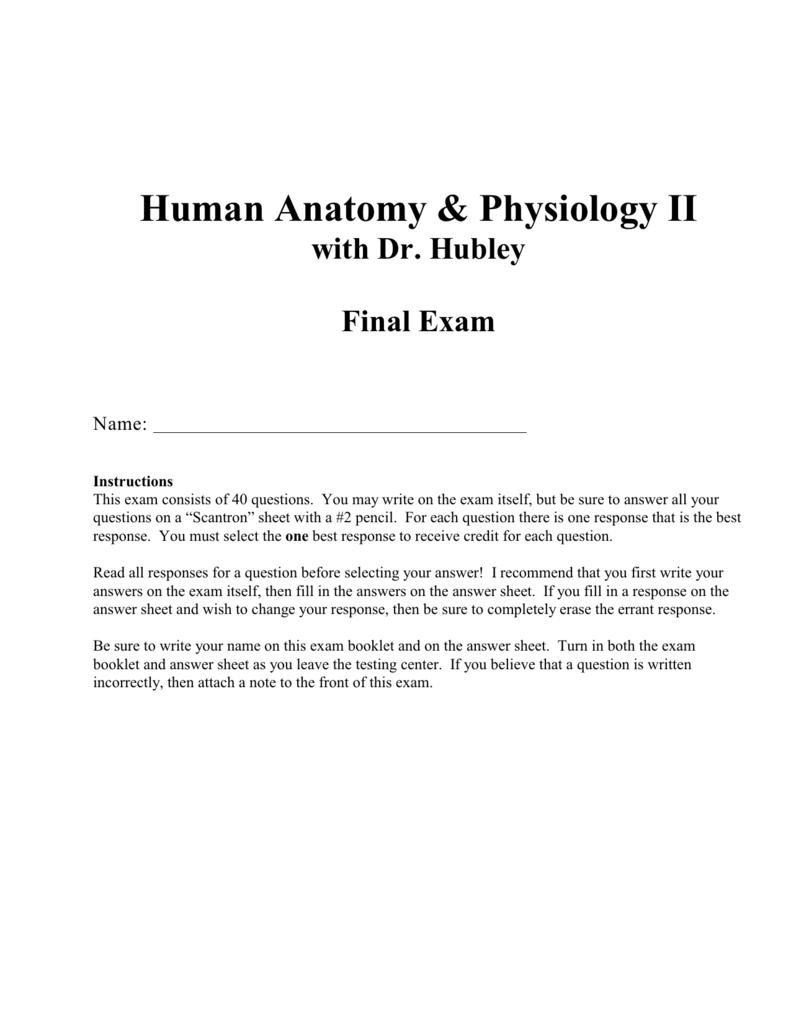 Human Anatomy Physiology Ii