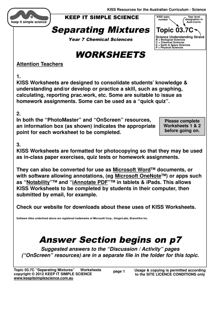 Separating Mixtures WORKSHEETS Answer Section begins on p7 – Separation Techniques Worksheet
