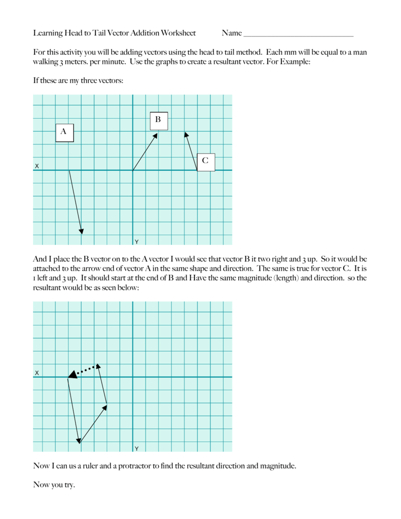 Learning Head To Tail Vector Addition Worksheet Name For This