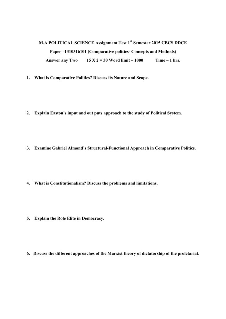 M A Political Science Assignment Test 1 Semester 2015 Cbcs