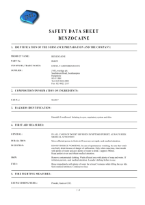 safety data sheet benzocaine