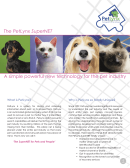 The PetLynx SuperNET A simple powerful new technology for the