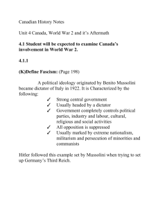 Canadian History Notes Unit 4 Canada, World War 2 and it's