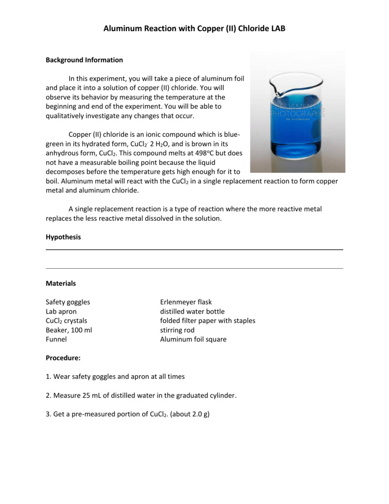 Aluminum Reaction with Copper (II) Chloride LAB