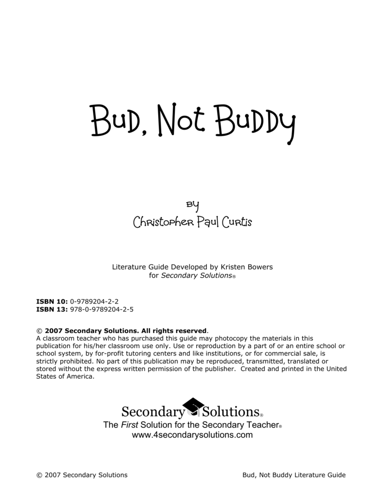 Bud Not Buddy Essay Bud Not Buddy Sample Page From Kids Wings Bud