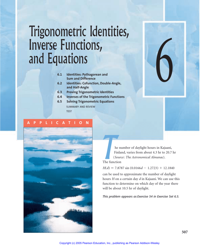 Trigonometric Identities, Inverse Functions, and Equations