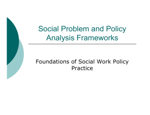 Social Problem and Policy Analysis Frameworks
