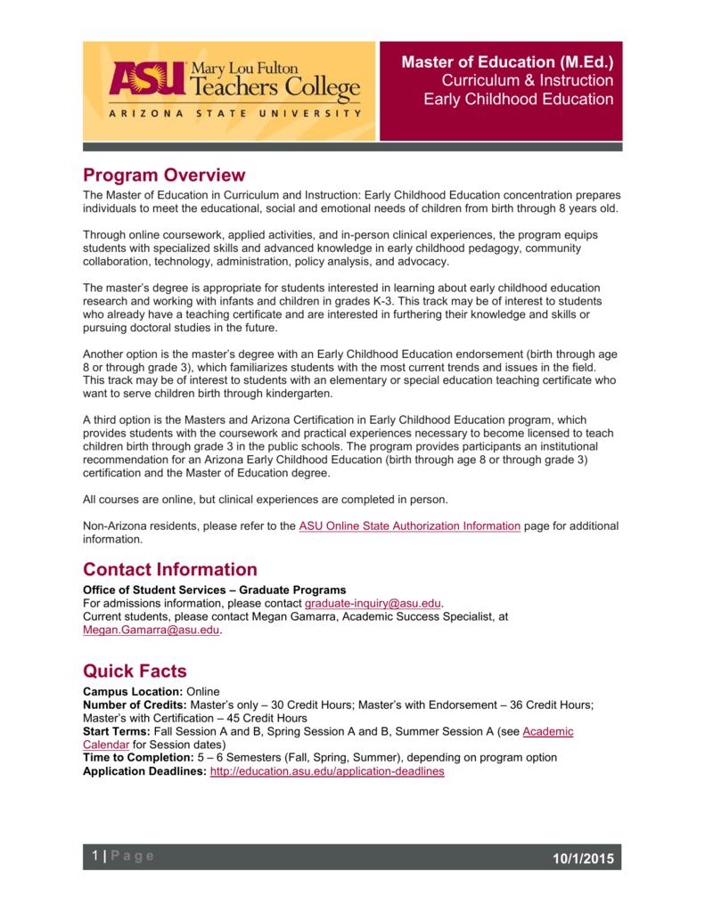 Program Overview Arizona State University