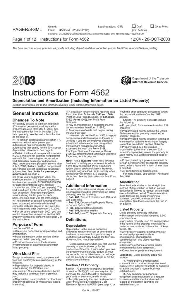 Instructions For Form 4562
