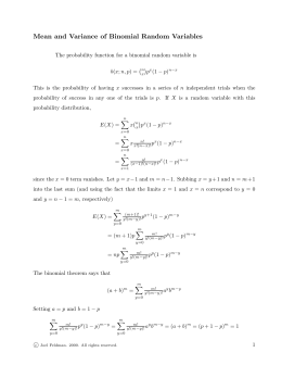 Mean and Variance of Binomial Random Variables